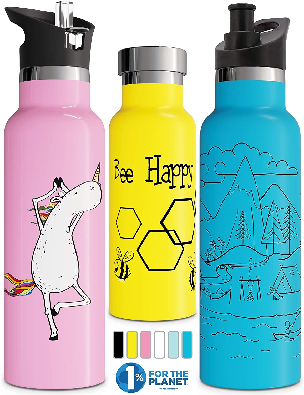 Involve & Evolve Insulated Water Bottle with 3 Lids (Straw Lid) Kids Reusable Double Walled Stainless Steel Flask Thermos 12oz 17oz 20oz 25oz
