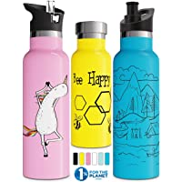 Involve & Evolve Insulated Water Bottle with 3 Lids (Straw Lid) Kids Reusable Double Walled Stainless Steel Flask Metal…