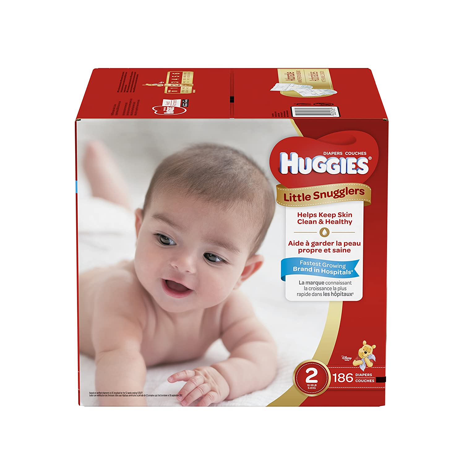 Huggies Little Snugglers Baby Diapers, Size 2, For 12 18 Lbs, One Month Supply (186 Count), Packaging May Vary by Huggies
