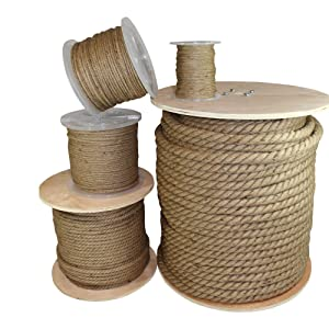 Twisted Jute Rope - SGT KNOTS - Thick Heavy Duty 3 Strand Jute Ropes - Strong All Natural Jute Fibers - Crafts & Crafting, Garden & Gardening, Bailing, Packing, Survival, Home Decor (1/8 in x 50 ft)