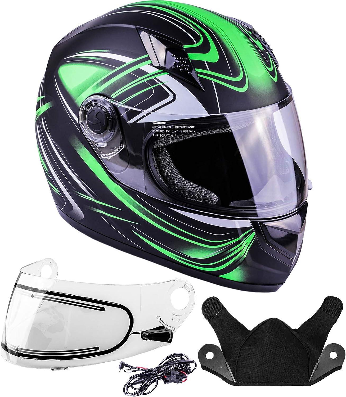 Grey, XXXL Typhoon Helmets Adult Full Face Snowmobile Helmet With Heated Shield DOT