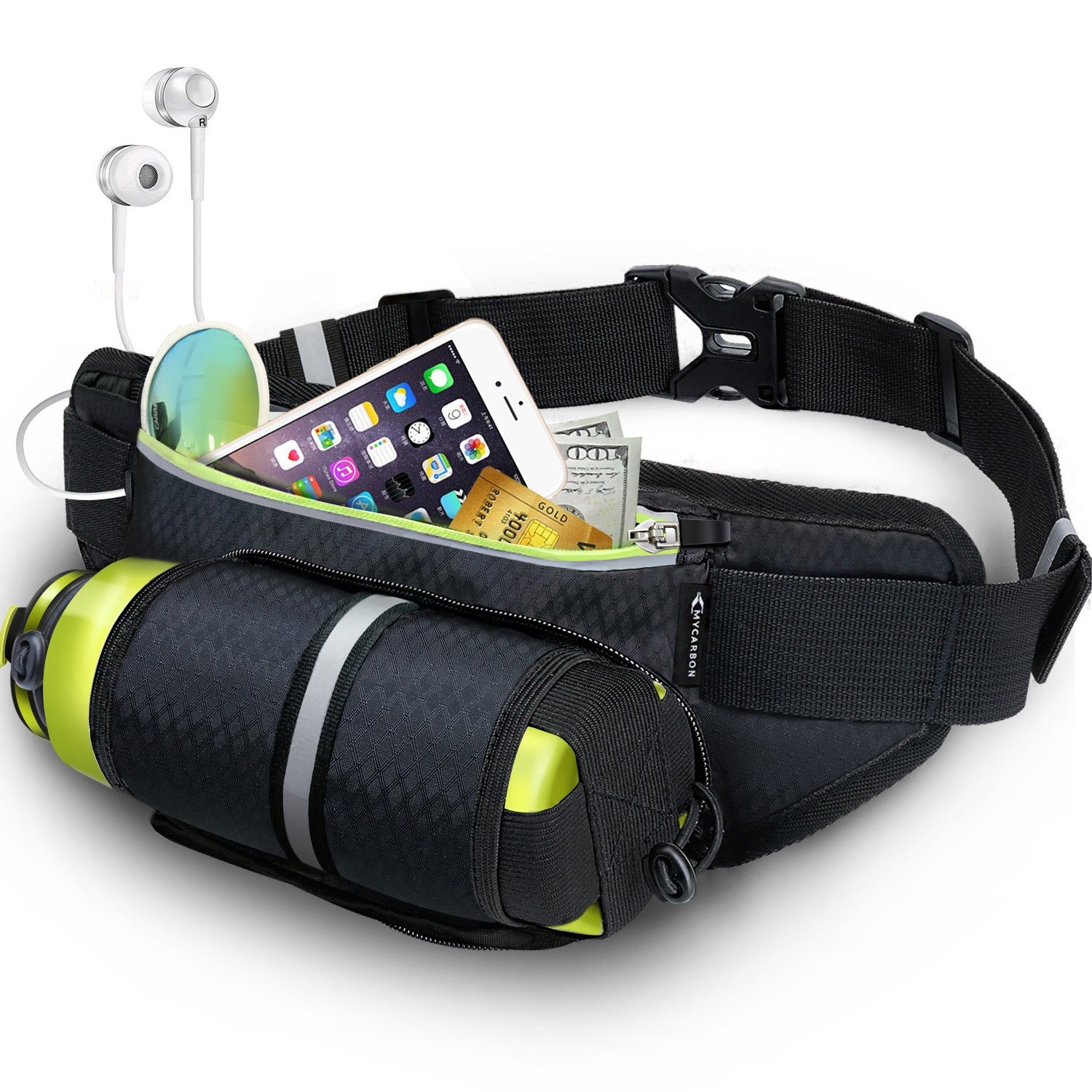 Fanny Pack MYCARBON Waist Pack with Water Bottle Holder,Waterproof Running Belt for Men Women,Fits IPhone 8Plus Galaxy S8 Note 8,Reflective Hydration Belt for Running Hiking Travelling-Black Fanny Bag