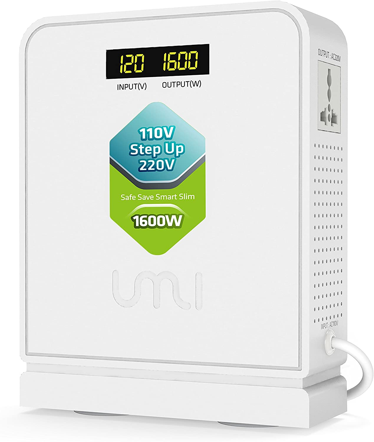 UMI 110V to 220V Step Up Voltage Converter 1600W for Euro and China Appliance with Toroidal Transformer, Dual displaying, Soft Start, Safety