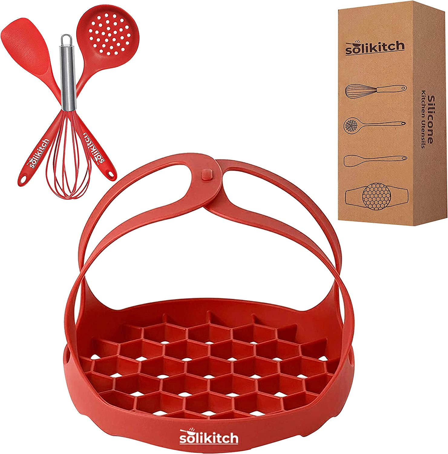 Solikitch Pressure Cooker Accessories – Silicone Bakeware Sling and Tools Set – 4 pcs Pressure Cooking Accessories with Sling, Whisk, Spatula, and Skimmer – Food-Grade Silicone – Red