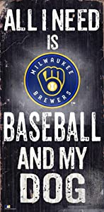 Fan Creations MLB Milwaukee Brewers Unisex Milwaukee Brewers Baseball and My Dog Sign, Team Color, 6 x 12