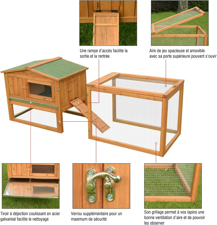 Conejos Jaula de conejos roedores gallinero 2 pisos cajón déjection Enclos exterior desmontable techo solar 79L X 58L X 68H cm madera maciza Pin 14: Amazon.es: Productos para mascotas