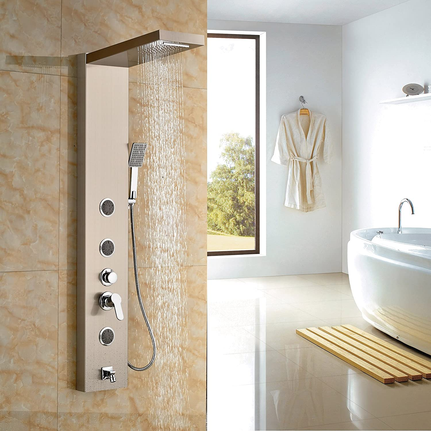 Rozin® Brushed Nickel Rain Waterfall Shower Panel Set Body Jets with ...