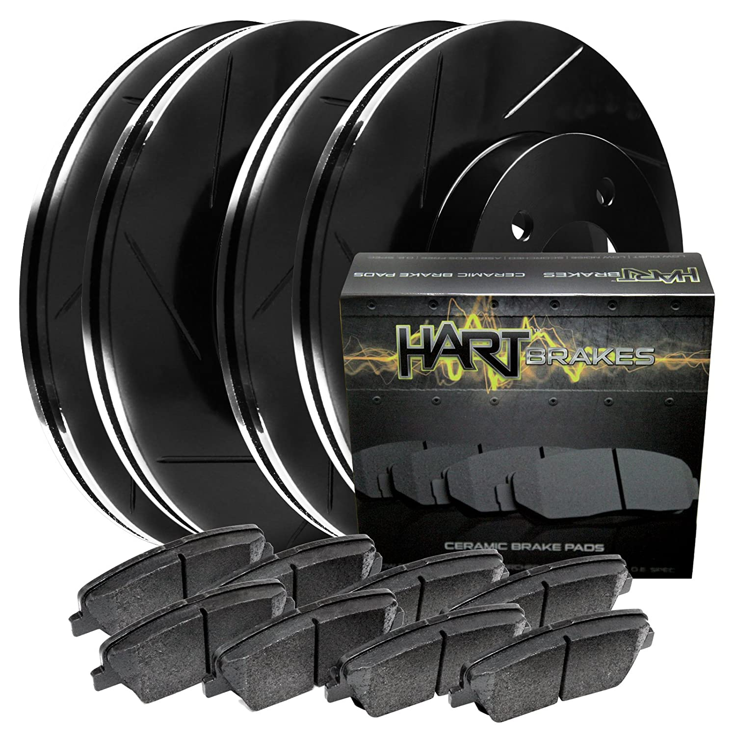 FULL KIT Tundra BLACK HART DRILLED SLOTTED BRAKE ROTORS /& PADS Sequoia