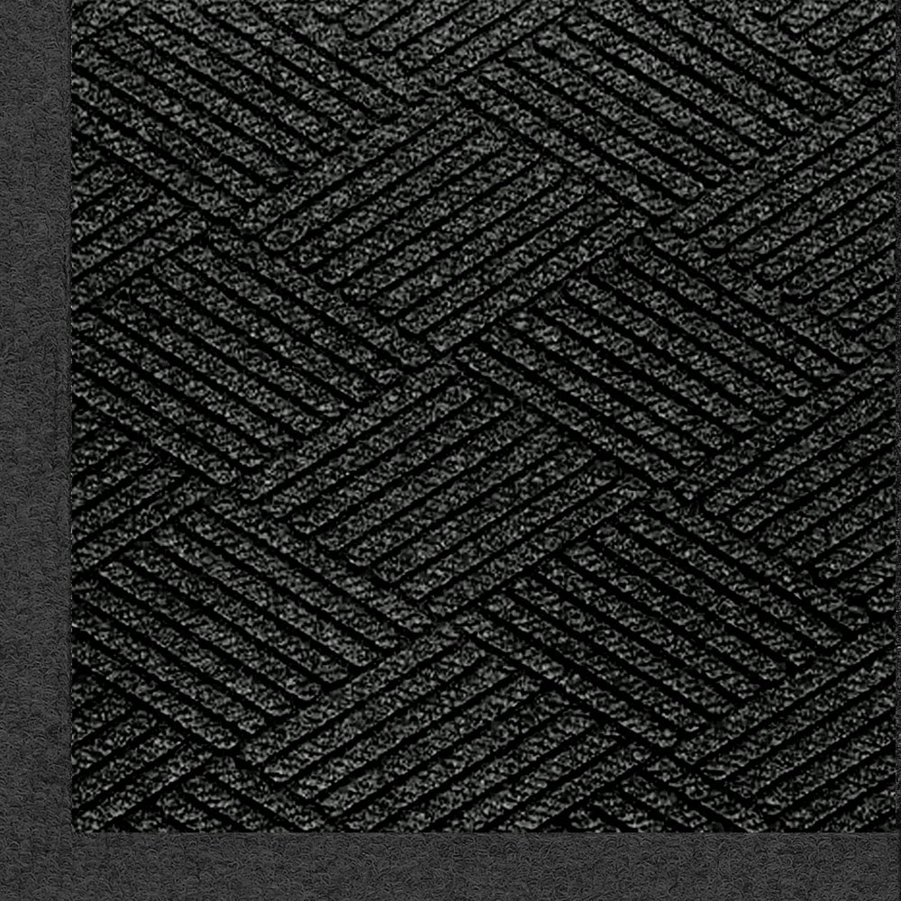M+A Matting 2297 Waterhog Eco Premier Fashion PET Polyester Fiber Indoor/Outdoor Floor Mat, SBR Rubber Backing, 5' Length x 3' Width, 3/8'' Thick, Black Smoke by M+A Matting (Image #1)