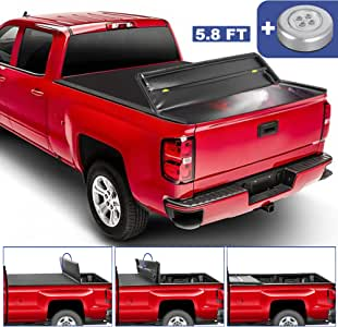 MOSTPLUS Quad Fold Soft Truck Bed Tonneau Cover Compatible for 2014-2019 Chevy Silverado/GMC Sierra 1500 (2019 Classic/Legacy ONLY) Fleetside 5.8 FT