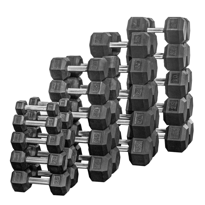 Rep 5-100 lb Rubber Hex Dumbbell Set, Low Odor