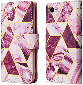 LAPOPNUT for iPhone 7 Plus / 8 Plus Marble Case Premium Leather Case Flip with Card Slot Lanyard Magnetic Protective Cover Stand Wallet Cute Paintings Phone Case Girls for iPhone 8 Plus,Purple