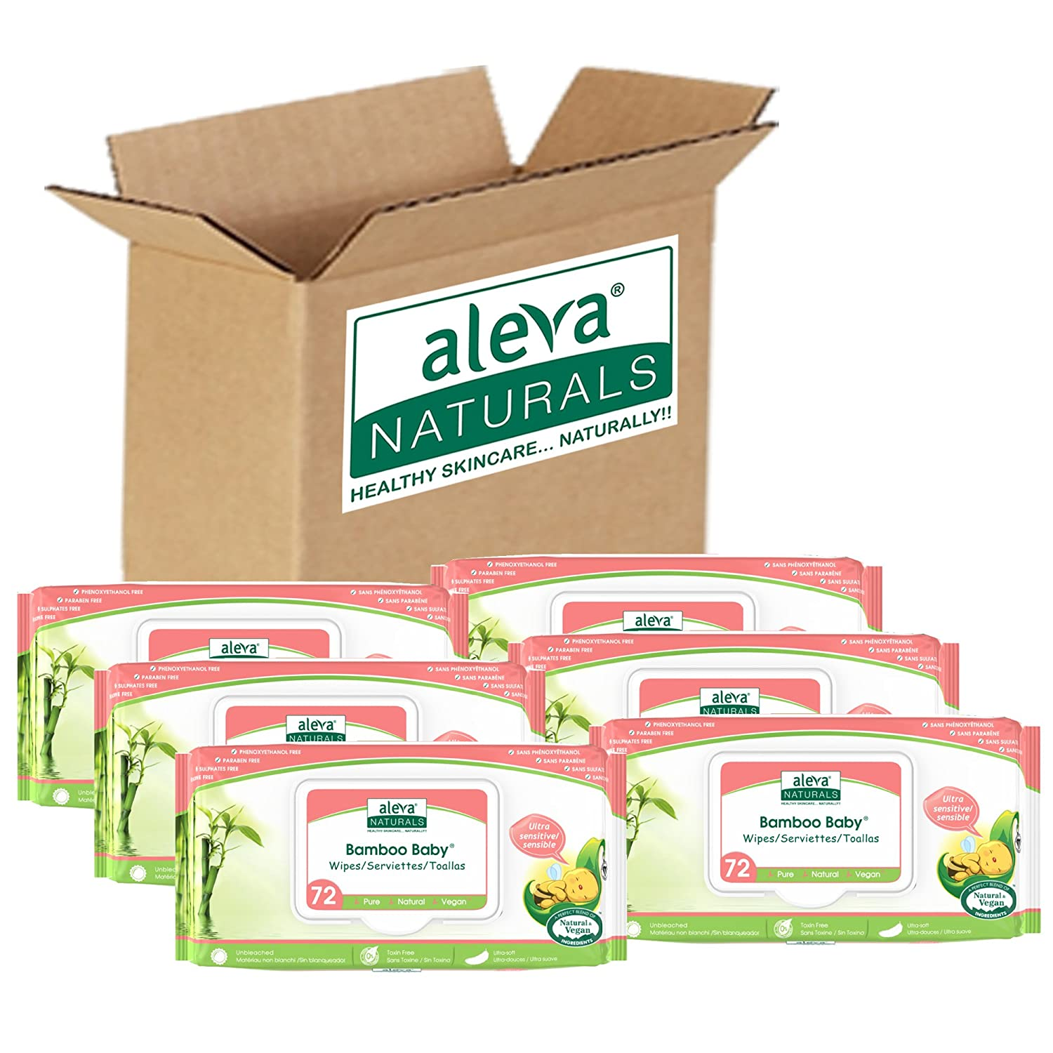 Amazon.com: Aleva Naturals Bamboo Baby Sensitive Wipes | Unscented | Extra Strong and Ultra Soft | Natural and Organic Ingredients | Certified Vegan | 6 ...