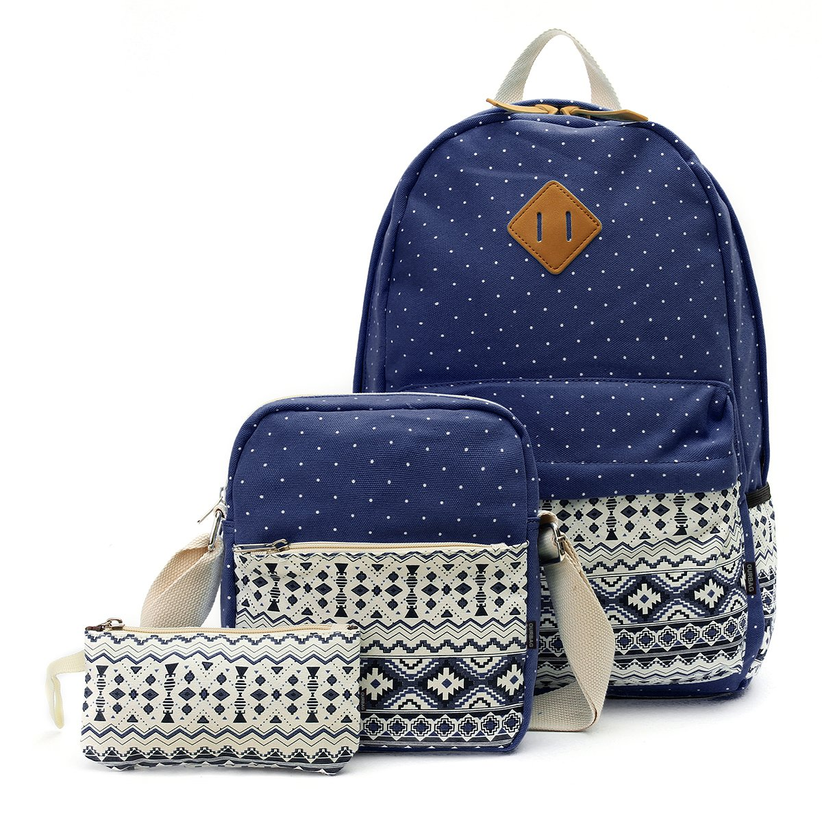 OURBAG Canvas Casual Lightweight Backpack Schoolbag Shoulder Bags Wallet for Women Girls 3PCS Set Navy Blue