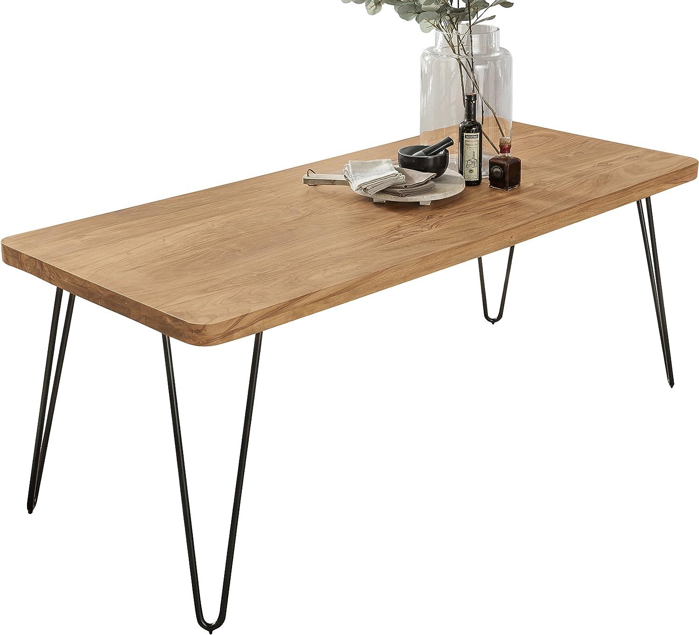 FineBuy Design Esstisch 80 x 80 x 76 cm dunkel braun aus