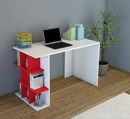 PLUS Escritorio - Blanco / Rojo - Mesa de Ordenador con estantes ...