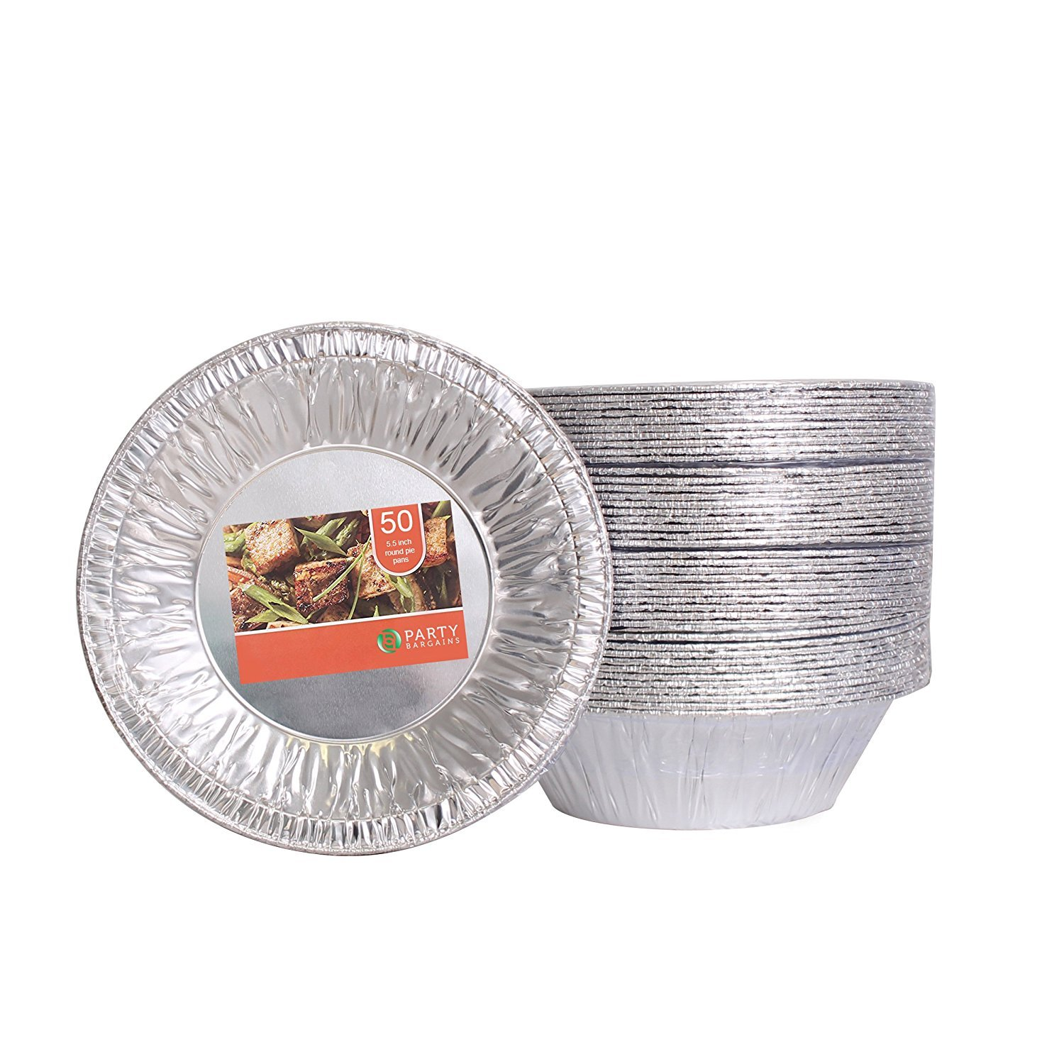 Party Bargains Aluminum Foil Tart/Pie Pans | Perfect for Homemade Cakes & Pies - 5.5 Inch | Pack of 50