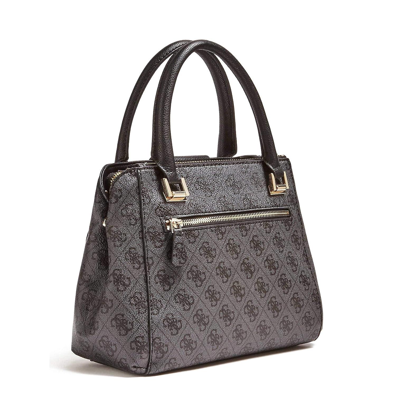 Guess Womens Logo Luxe Small Coal Society Satchel Handbag