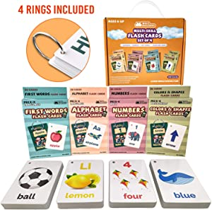 Flash Cards For Toddlers Kids – 4Packs Alphabet ABC Letter Numbers Math Shapes Color Preschool Sight Words Flashcards – 1-2 , 2-4 Years Baby Learning Educational Kindergarten Card Games Ages 2-3 , 4-8