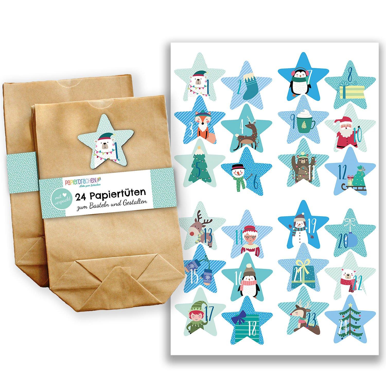 Papierdrachen Calendario dell'Avvento Fai-da-Te, da Creare a Piacere - Mini-Kit Completi con 24 bustine - Calendario dell'Avvento da riempire - Disegno Numero 30