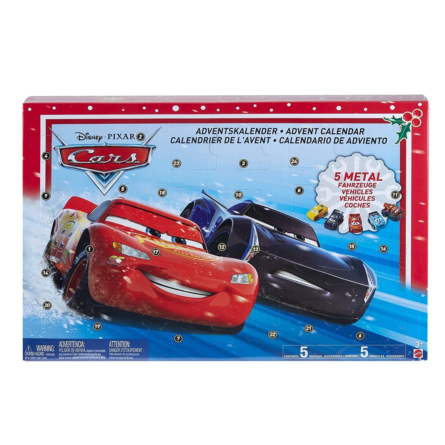 Disney Pixar Cars GBV45 Advent Calendar, Multi-Colour Mattel