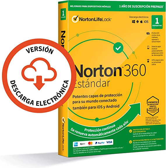 Norton 360 Estándar 2021 - Antivirus software para 1 ...