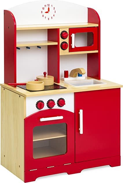 Best Choice Products Pretend Wooden Chef Kitchen Toy Playset for Kids,  Toddlers w/ Oven, Microwave, Pots - Red
