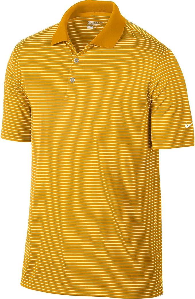 Nike Golf Dri-Fit Victory Stripe Polo, S, Dorado Universitario ...