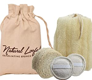 All Natural Loofah Spa gift bag, Set of 2 Loofa Sponge, 2 Facial pads and 1 Heel Scrub, Real Egyptian Bath & Shower Exfoliating Loufa Scrubber for Face, Foot, Back & Body, Eco Friendly, Non Toxic.