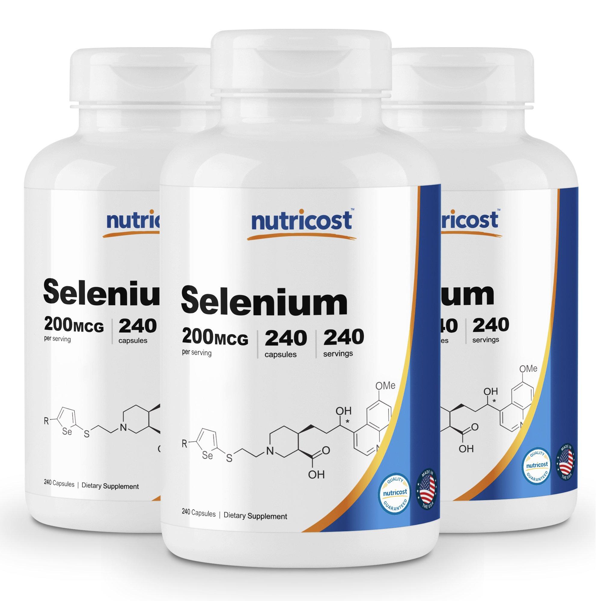 Nutricost Selenium 200mcg, 240 Veggie Caps (3 Bottles) - Non-GMO, Gluten Free L-Selenomethionine ...
