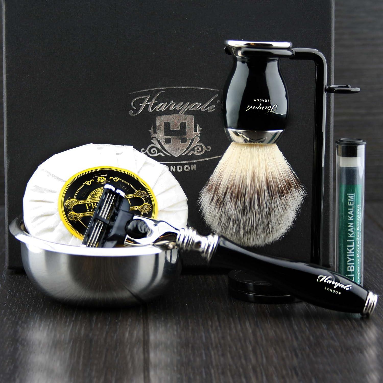 Premium Afeitado Kit Regalo para hombre(Gillette Mach 3 cuchilla, Cepillo, Cuenco, Soporte)Caja Marca Haryali London