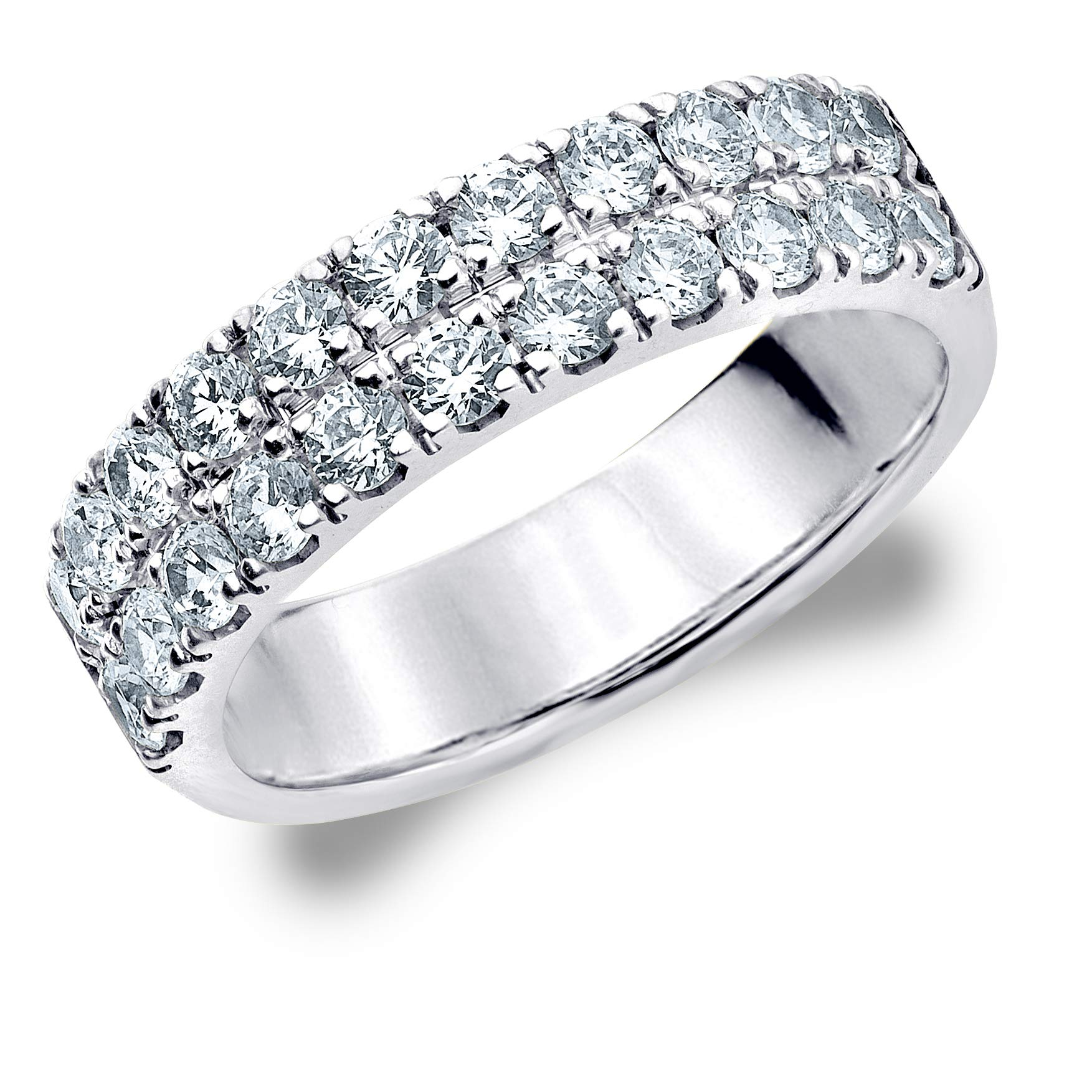 1 CT Double Row Lab Grown Diamond Ring in 14K White Gold, Sparkling in E-F Color and VS Clarity- Finger Size 4.5
