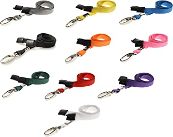 NHS staff lanyard 10mm thin neck strap with metal hook and safety breakaway