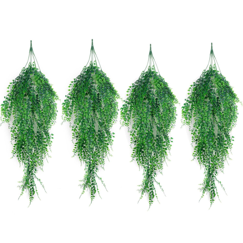 Outgeek Artificial Hanging Plants, Artificial Green Ivy Vine Artificial Shrubs Hanging Vine Plant Home Garden Outdoor Wall Decoration (4 pcs)