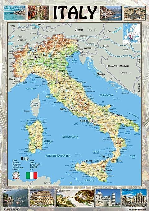 A1 Size 59.4 x 84.1 cm Austria Physical Map Paper Laminated