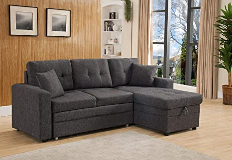 Amazon Com Esofastore Sectional Sofa Grey Linen Fabric Cushion