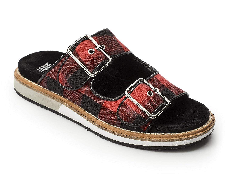Jane and the Shoe Women's Kiki 2 Buckle Low Wedge Sandal B07DG1WJ53 7 M US|Black/Red