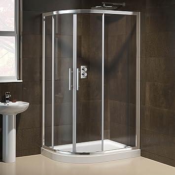 O cama de matrimonio 1000 x 800 mm Offset izquierda cuadrante mampara de ducha de fácil de limpiar y de la base juego de plato ES1014: iBath: Amazon.es: Bricolaje y herramientas