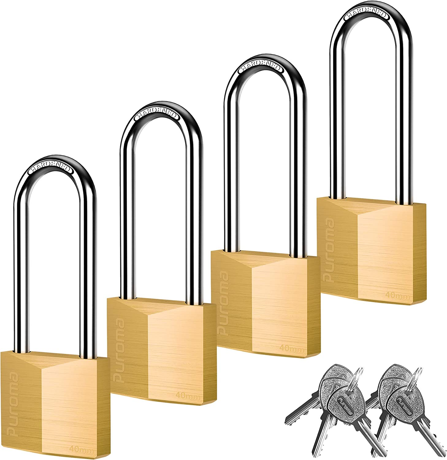 Puroma 4 Pack Keyed Padlock Waterproof Solid Brass Lock, 2.6 Inch Long Shackle for Sheds, Storage Unit School Gym Locker, Fence, Toolbox, Hasp Storage
