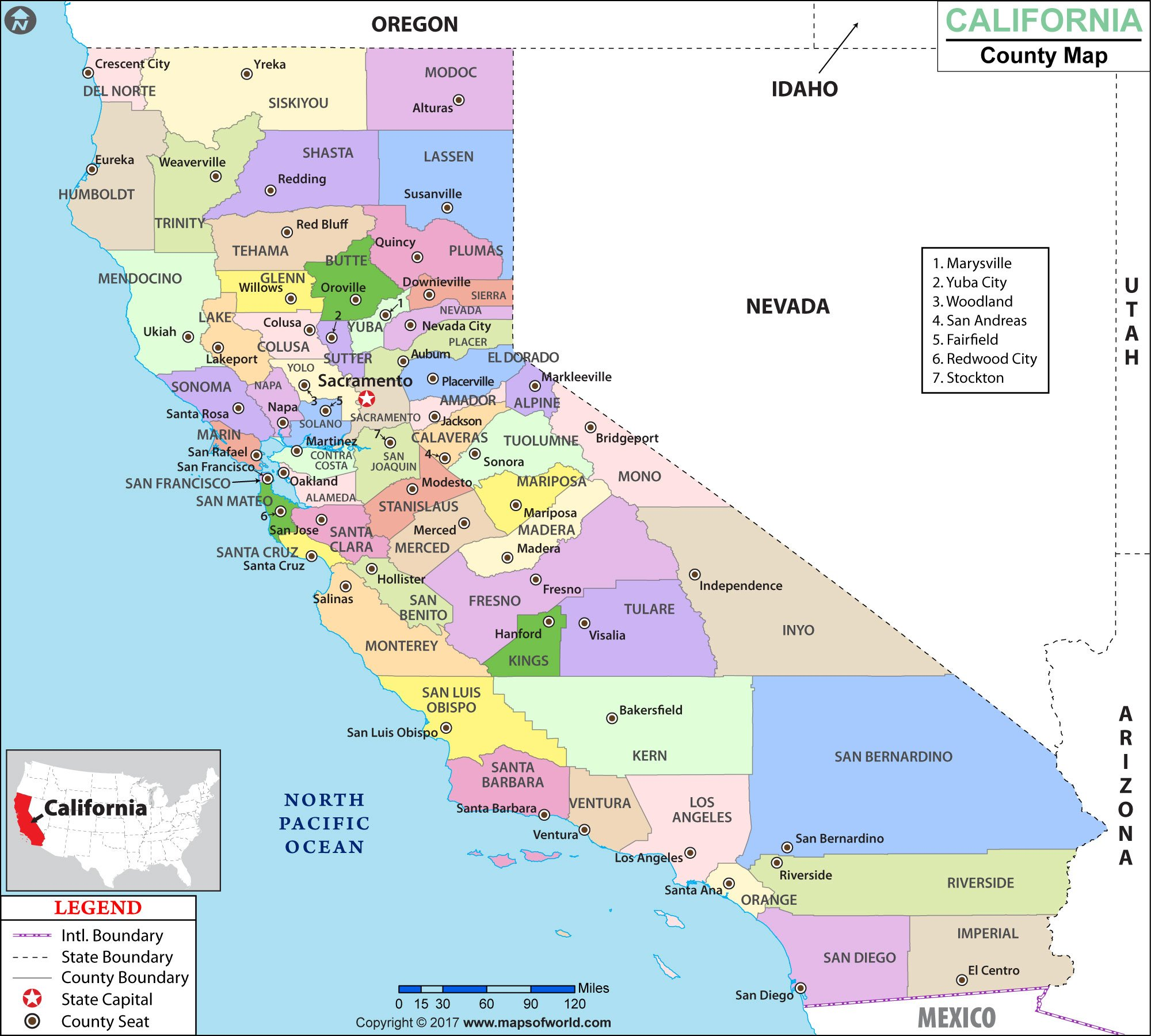 California County Map (60'' W x 54'' H)