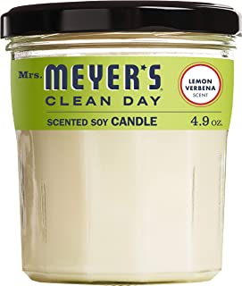 product image for Mrs. Meyer's Clean Day Scented Soy Aromatherapy Candle, 35 Hour Burn Time, Made with Soy Wax, Lemon Verbena, 4.9 oz