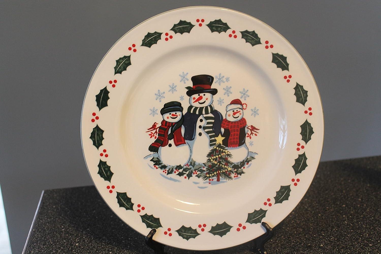 Amazoncom Gei Set Of 3 Snowman Family Dinner Plates 10 34 Inch
