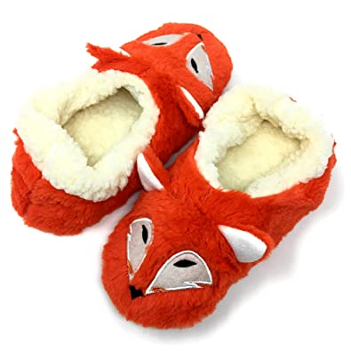 2ae8f0b1e46 Oooh Geez Fluffy Animal Slipper Foxy Fox All Amazingly Soft Sherpa Non-Skid  Sole Size