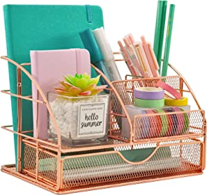Rose Gold Desk Organizer for Women, COSYAWN All in One Mesh Office Supplies Desk Accessories, Features 5 Compartments + 1 Mini Sliding Drawer