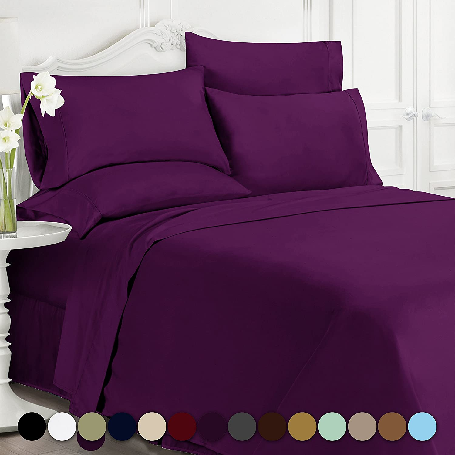 Swift Home Luxury Bedding Collection, Ultra-Soft Brushed Microfiber 6-Piece Bed Sheet Sets Queen, Eggplant
