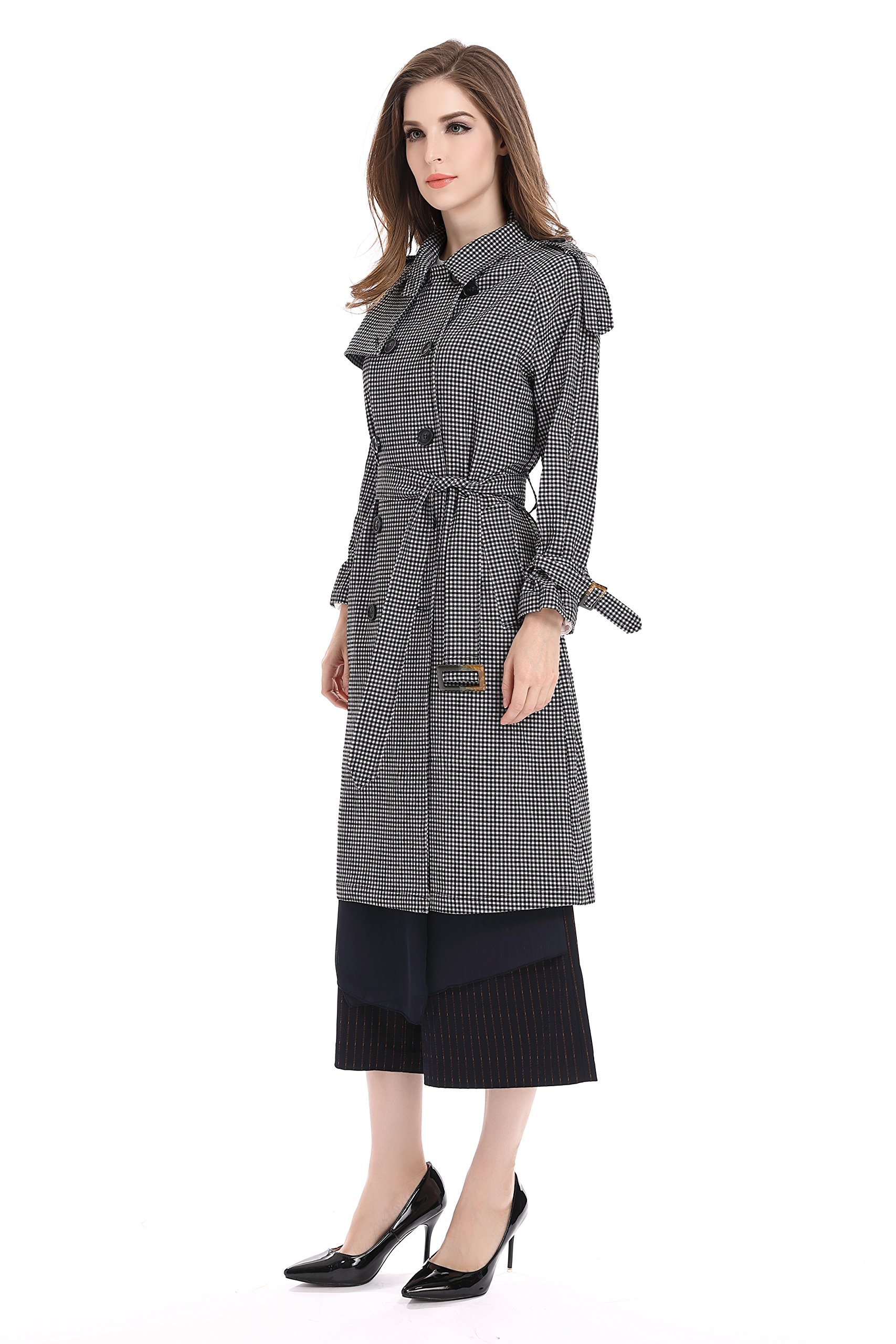 Bluemary Women's Fashion Fine Plaid Long Trench Coat With a Belt (medium, Greyish White)
