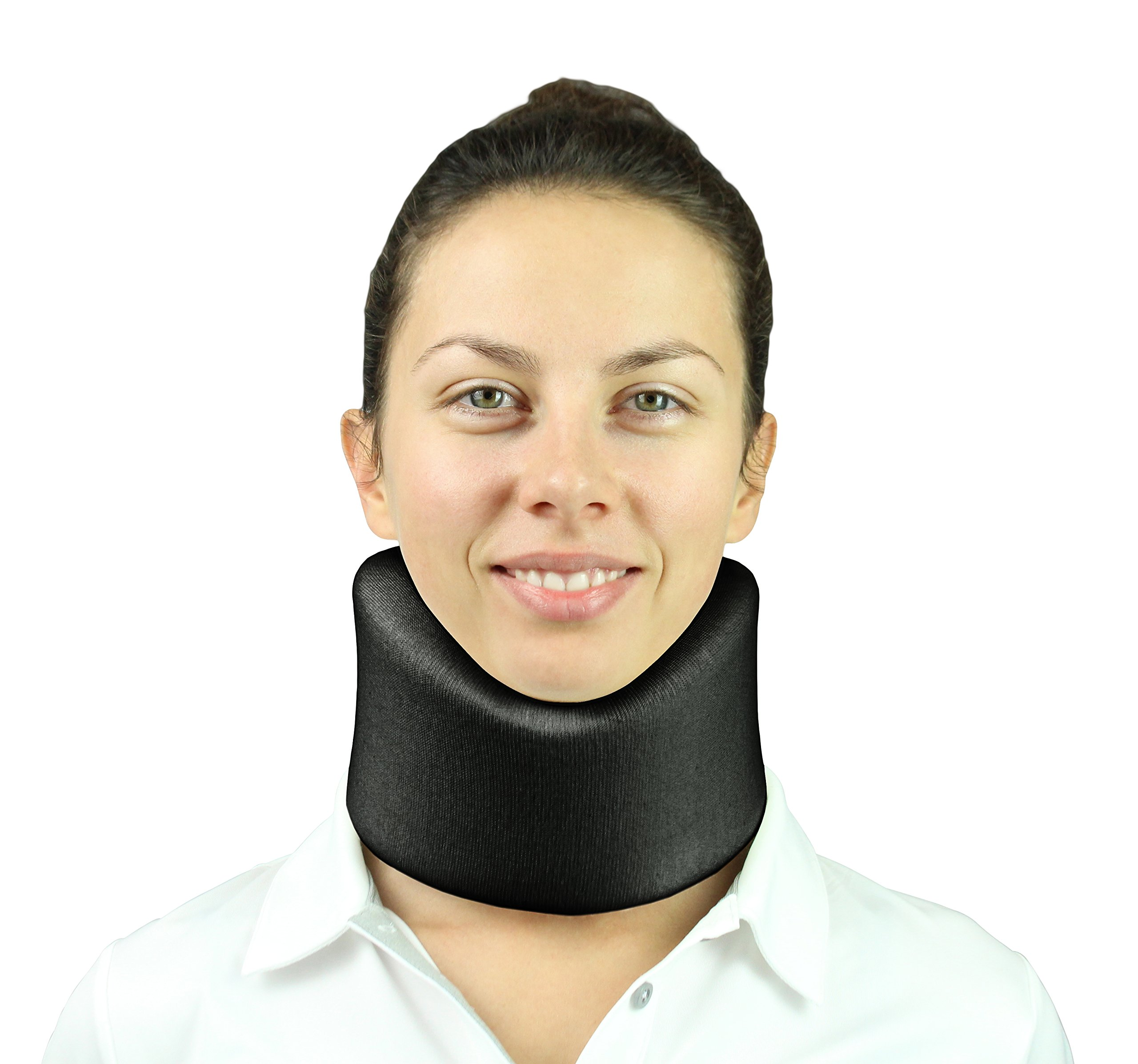 Vive Neck Brace - Cervical Collar - Adjustable Soft Support Collar Can Be Used During Sleep - Wraps Aligns and Stabilizes Vertebrae - Relieves Pain and Pressure in Spine (Black) by VIVE (Image #1)