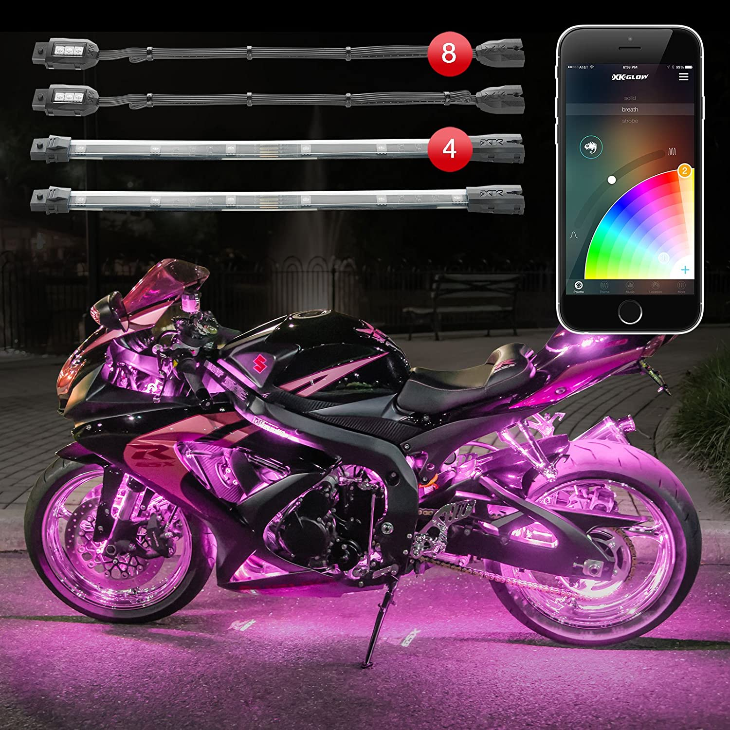 XKGlow 10pc Pods /& 8pc Strips App Controlled LED Accent Light Kit for Motorcyles