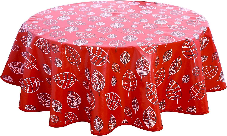 Home Direct Mantel de Hule, Redondo 140 cm, Hojas, Rojo: Amazon.es: Hogar