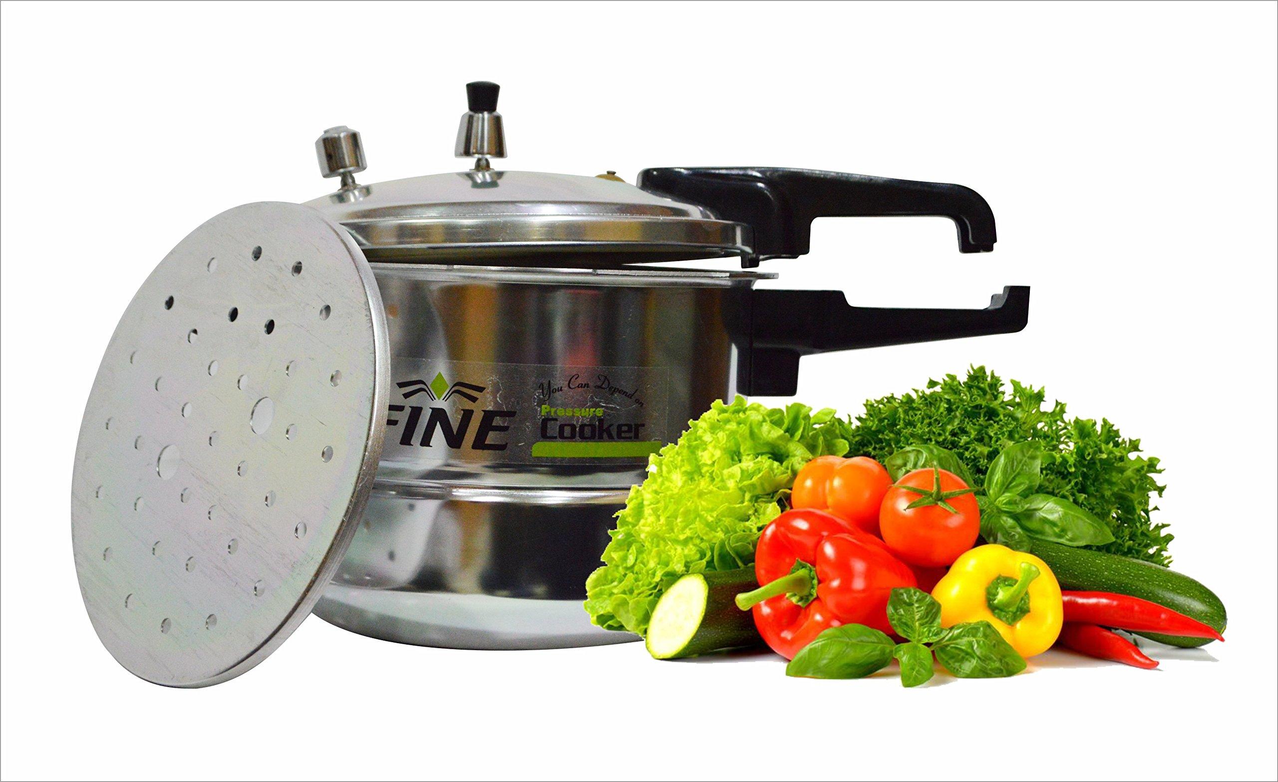 Fine Aluminum pressure cooker| Efficient food Cooking| Dishwasher safe Pressure Cooker Steamer Rack cooker Long Lasting addition to kitchen utensils Easy Handling-Pressure cooker